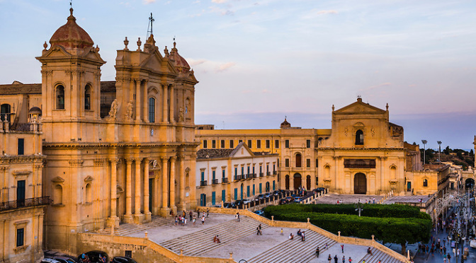 Noto, St Nicholas Cathedral (Noto Cathedral, Cattedrale di Noto) and Church of San Salvatore (Basilica San Salvatore) in Piazza del Municipio, Noto, Sicily, Italy, Europe. This is a photo of Noto, showing St Nicholas Cathedral (Noto Cathedral, Cattedrale di Noto) and Church of San Salvatore (Basilica San Salvatore) in Piazza del Municipio, Noto, Sicily, Italy, Europe.